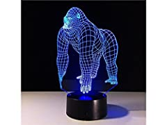 Idea Regalo - AHIMITSU Luce Decorativa 3D Gorilla LED Light Figure Illusion 7 Colore Che Cambia Smart Touch USB Table Desk Lamps Luce Notturna Camera da Letto