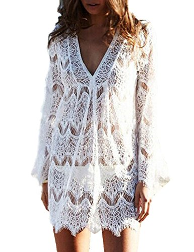 LITTLE SORREL Donna Sexy Elegante V Neck Lace Mini Abito Vestito da Mare Pizzo Hollow Out Spiaggia Bikini Coprire Pareo Beachwear Size S L XL