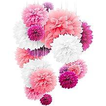 20 pompones de papel con forma de flor, en tamaños de 25,4 cm