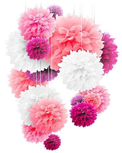 20 pompones de papel con forma de flor, en tamaños de 25,4 cm, 30,4 cm y 35,5 cm, perfectos para decorar bodas, cumpleaños, mesas y paredes, Pink mix