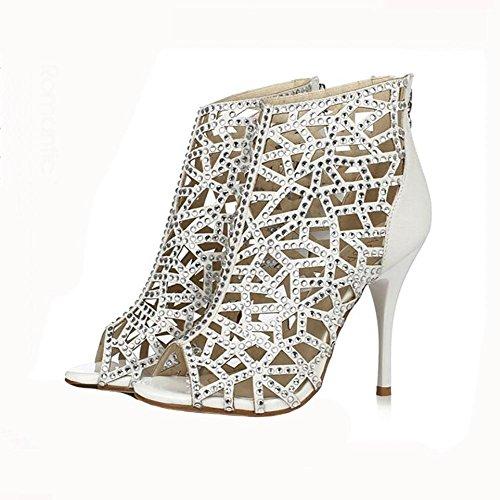 Vera Pelle estate di modo delle donne strass ha perforato i sandali con tacco Superfine Alta bocca dei pesci , 40 , white diamond 10cm