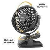 AngLink mini USB Clip Ventilator mit Batteriebetrieben mini Tischventilator Fan   4-fach Geschwindigkeitsregelung   PC / MAC / Notebook optimal für den Schreibtisch, Kinderwagen, Rollstuhl, Schlafzimmer, Camping