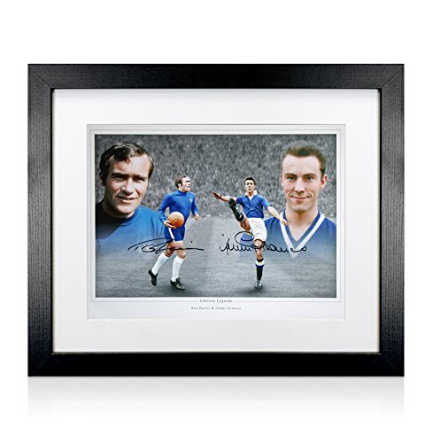 Cuadro de Ron Harris y Jimmy Greaves foto firmada a mano - Chelsea leyendas