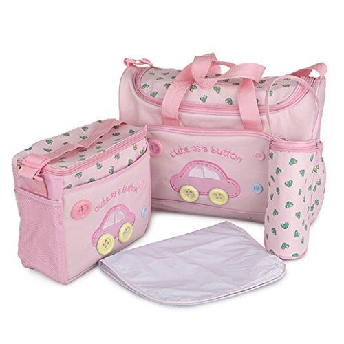 Sharplace Modische 4-Teilige Wickeltasche, Babytasche, Windeltasche, Pflegetasche, Reisetasche Baby - Rosa