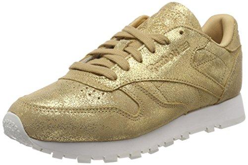 Reebok Mädchen Classic Leather Shimmer Fitnessschuhe, Gold (XJ Gold/Chalk 000), 35 EU (Gold Chalk)