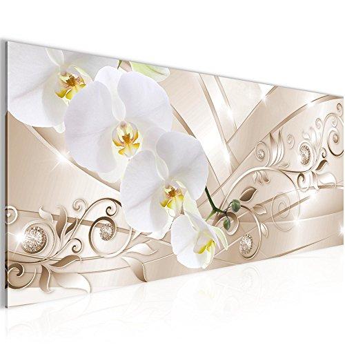 Bilder Blumen Orchidee Wandbild 100 x 40 cm Vlies - Leinwand Bild XXL Format Wandbilder Wohnzimmer Wohnung Deko Kunstdrucke Violett 1 Teilig -100% MADE IN GERMANY - Fertig zum Aufhängen 209112b (Bilder Von Orchideen)