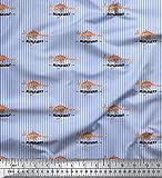 Soimoi Blau Baumwolle Batist Stoff Streifen & Känguru Tier