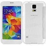 JAMMYLIZARD | Silikon und Leder Flip Case Hülle für Samsung Galaxy S5, WEIß