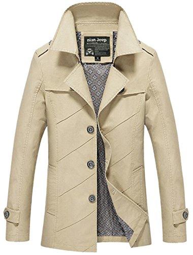 Herren Freizeitliche Feldjacke Modische Herrenoberbekleidung Jacke aus Baumwolle Parka Trench Mäntel Jack Anzug Oberbekleidung Licht Khaki 11