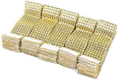 50 Stück Strass Serviettenringe Serviette Halter Schärpe Band Serviettenkette Serviettenhalter Klettverschluss mit Klettverschluss Tischdekoration für Hochziet Party Weihnachten (Gold) -