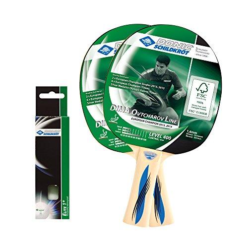 Donic-Schildkröt Tischtennis-Set Ovtcharov 400, 2 Schläger FSC Holz, 3 Bälle in guter 1* Qualität, im Blister, sehr gute Freizeitqualität, nachhaltiges Holz, 788469