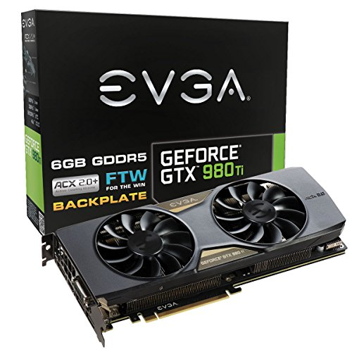 Evga Geforce Gtx 980 Ti 6gb Ftw Gaming Acx 2.0 Whisper Silent Cooling W Free Installed Backplate Graphics Card 06g-p4-4996-kr