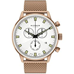 Blenheim London® Chronomaster Pilot Watch White Dial Rose Gold Case with Stainless Steel Strap
