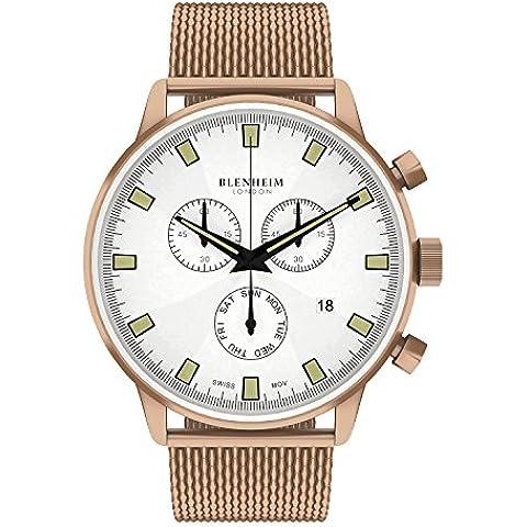 Blenheim Londres® Chronomaster Piloto Reloj Blanco Dial Rose Dorado Caso con correa de acero
