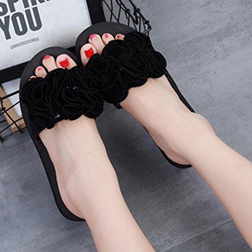 OHQ Fleur Épaisse Tongs Sandales Plage Chaussures Noir Rose Rouge Femme DÉté Pantoufles DIntérieur Intérieur Flip-Flops Pantoufles Femmes Chaudes Montantes Isotoner Lapin Fantaisie Noir
