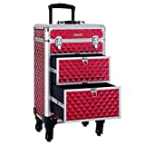 SONGMICS Valise de maquillage ABS Rouge 34 x 27 x 57 cm JHZ08RD Kosmetikkoffer, Rouge