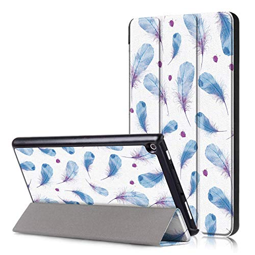 JCTek Schutzhülle für Amazon Fire HD 8 Tablet (7. und 8. Generation, 2017 und 2018), Ultra leicht, mit Standfunktion, mit automatischer Aufwach- / Schlafmodus Blue Feather Ultra Light Feather Case