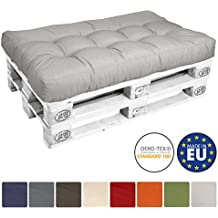 Beautissu Cojines para palés ECO Style - Cojín de asiento 120x80x15 cm - Color: Gris claro - Cojín: Asiento