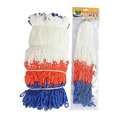 qianzhi Est ndar de Nylon Hilo Deportes Baloncesto aro Malla Red Reborde Bola Bomba 12 bucles Blanco Rojo Azul 3 Colores Net
