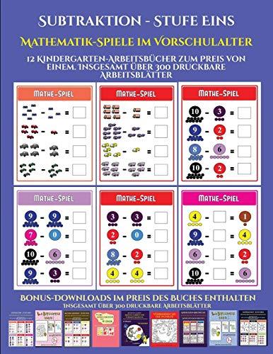 Vorschulalter (Subtraktion - Stufe Eins): 12 Kindergarten-Arbeitsbücher zum Preis von einem. Insgesamt über 300 druckbare Arbeitsblätter ()