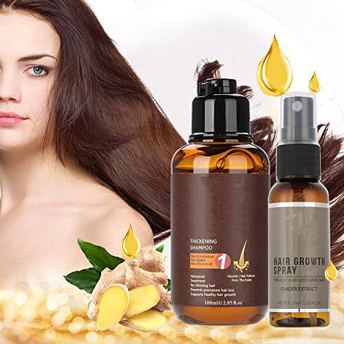 Anti Haarausfall Ingwer Shampoo, Wachsen länger Haarwachstum Essenz Pflegende Haarpflege Set einschließlich Ginger Shampoo, Natürliche Inhaltsstoffe, Nachwachsen und Haar stärken