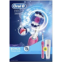 Oral-B Pro 2500 3D White Electric Rechargeable Toothbrush with Travel Case Powered by Braun - Pink by Oral-B