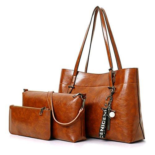 DEERWORD Damen Handtaschen Schultertaschen Umhängetaschen PU-Leder Bowlingtaschen 3er Set Braun