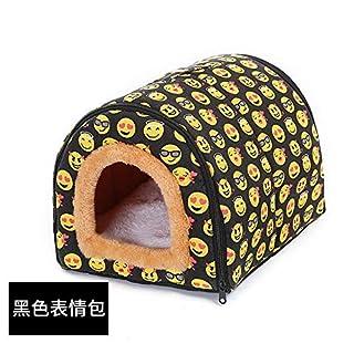 Petxwbed Heimtierbedarf Hundezwinger Herausnehmbar Und Waschbar Pet Nest Mit Doppeltem Verwendungszweck Haustierbett Katzenstreu Haustier Mat48 * 32 * 36Cmschwarzer Ausdruck