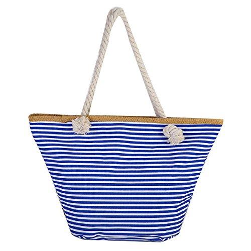 Strisce Moda Borse Tela Di Canapa Borsa Da Spiaggia Di Grande Capienza Del Sacchetto Di Spalla Delle Donne Blue