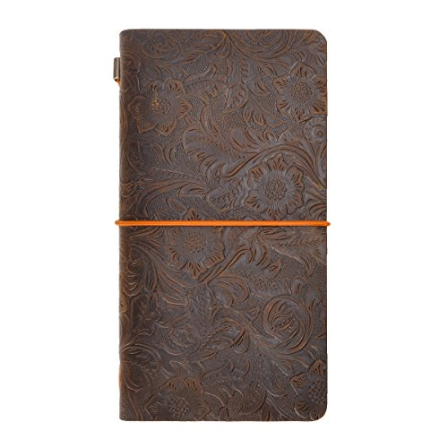 ZLYC Vintage Handmade Refillable Leather Flowers Emboss Travelers Journals Diary Notepad Notebook,Journal Size(Dark Coffee)
