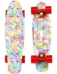 Charles Bentley - Mini skateboard cruiser style rétro - plastique - nombreux designs - 55,8 cm