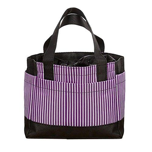 Coloré(TM) Sac Repas Lunch Bag Sac repas isotherme, Sac de déjeuner portatif thermique isolé de sac de pique-nique de rayure de toile froide isolé (Violet)
