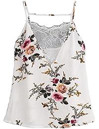 Damen Vogue Chiffon Weste,OYSHO Frauen Spitze Weste Top Sleeveless  beiläufige Tank Bluse Sommer Tops 5d63e61160