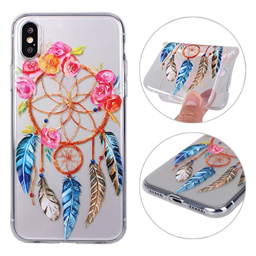 2xCoque iPhone X,Etui iPhone X Housse Rosa Schleife Ultra Slim Silicone Souple Housse TPU Gel Transparente Case léger Fin Portable Telephone Bumper arriere Coque Protection Protective Smart Cover Poch Two