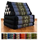 Thaikissen mit 3 Auflagen der Marke LivAsia®, Kapok Dreieckskissen, asiatisches Sitzkissen, Liegematte, Thaimatte (blau / Elefanten)