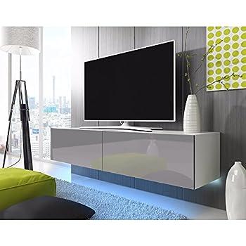Tv schrank weiß hochglanz hängend  TV Schrank Lowboard Hängeboard SIMPLE mit LED Blau (Weiß Matt ...