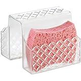 mDesign - Accesorios de baño sin taladro - Cesta para esponja perfecto como organizador para baño - Ideal accesorio para cocina como soporte para estropajos - Color: Transparente