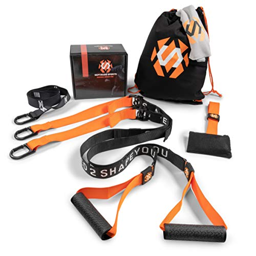 Septagon Sports® Premium Sling Trainer Set V.2019 Suspension Trainer mit Handtuch, Rucksackbeutel und Trainingsbuch - Schlingentrainer für Functional Training mit Türanker + Qualitätszertifikat