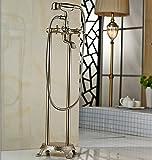 Luxurious shower Nickel gebürstet Floor Mount Badezimmer Wasserfall frei stehende Badewanne Armatur Set Badewanne Armatur Mischbatterie mit Handdusche, Klar