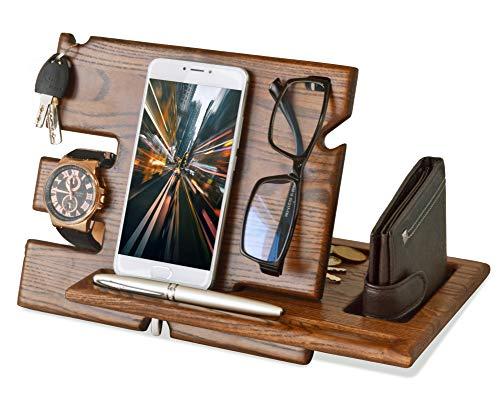 Docking station in legno per telefono cellulare con supporto per orologi organizer da uomo idea regalo per marito moglie anniversario papà compleanno comodino borsetta per padre