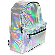 WDILO - Mochila de poliuretano con láser reflectante, color plateado, brillante, impermeable, elegante, para ocio, viaje, para la escuela, Unisex