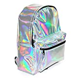 Zedtom Fashion School Backpack Shoulder Bag Casual Daypacks Pu Leather Colorful Holographic Glitter Faux Leather Backpack(Silver)