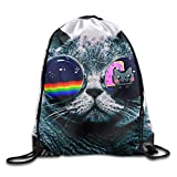 Etryrt Zaino con Coulisse,Borse Sacca,Sacchetto Rainbow Cat Unisex Gym Drawstring Shoulder Bag Backpack String Bags for Men Women