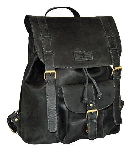 Menzo Leder-Rucksack aus echten Büffelleder, Ideal für die Arbeit, Schule, Urlaub und Handgepäck, Backpack (schwarz)