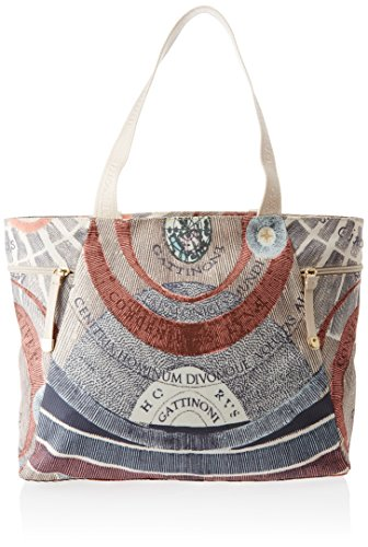 GATTINONI Damen Shopping Bag with Zip Pockets Schultertasche, Mehrfarbig (Cipria), 14x32x40 centimeters (Pocket Zip Tote)