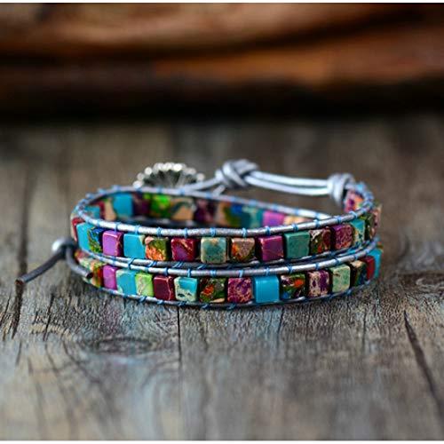 CXKNB Boho Frauen Armband Hohe Qualität Mix Naturstein 2 Stränge Leder Wickelarmbänder Vintage Weben Perlen Armband Handgemacht