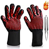 E-PRANCE Guantes de cocina Guantes del horno para barbacoa BBQ guantes resistentes al calor hasta 500 °C-1 Par