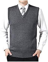 Hombre Negocio Chaleco de Suéter Sin Mangas Cuello en V Color Sólido Chalecos de Punto