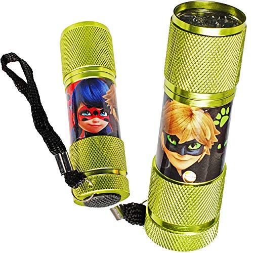 alles-meine.de GmbH 2 Stück _ Taschenlampen LED - Miraculous - aus Metall - Mini Lampe / Schlüsselanhänger - 9 Fach LEDlicht - Licht Auto Kindertaschenlampe für Jungen Mädchen - ..