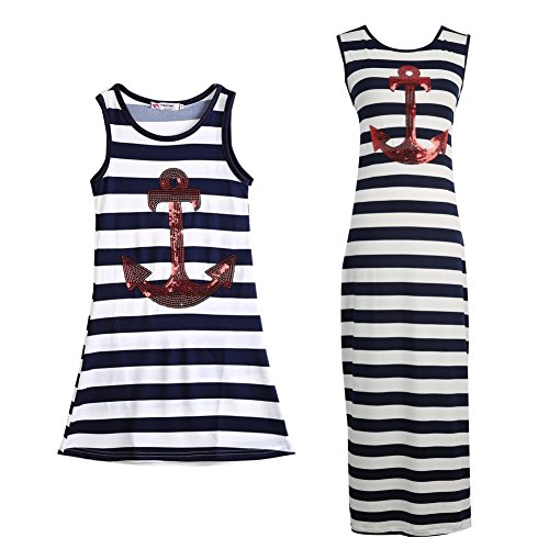 Balai Mother And Daughter Matching Dress Casual Long Maxi Dress Striped Sundress, Black-White, Mom-(UK 12/Tag XL)